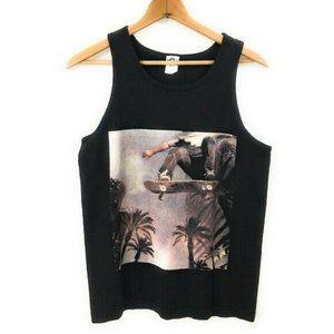 ALSTYLE Mens Black Graphic Tank Top Shirt, Medium